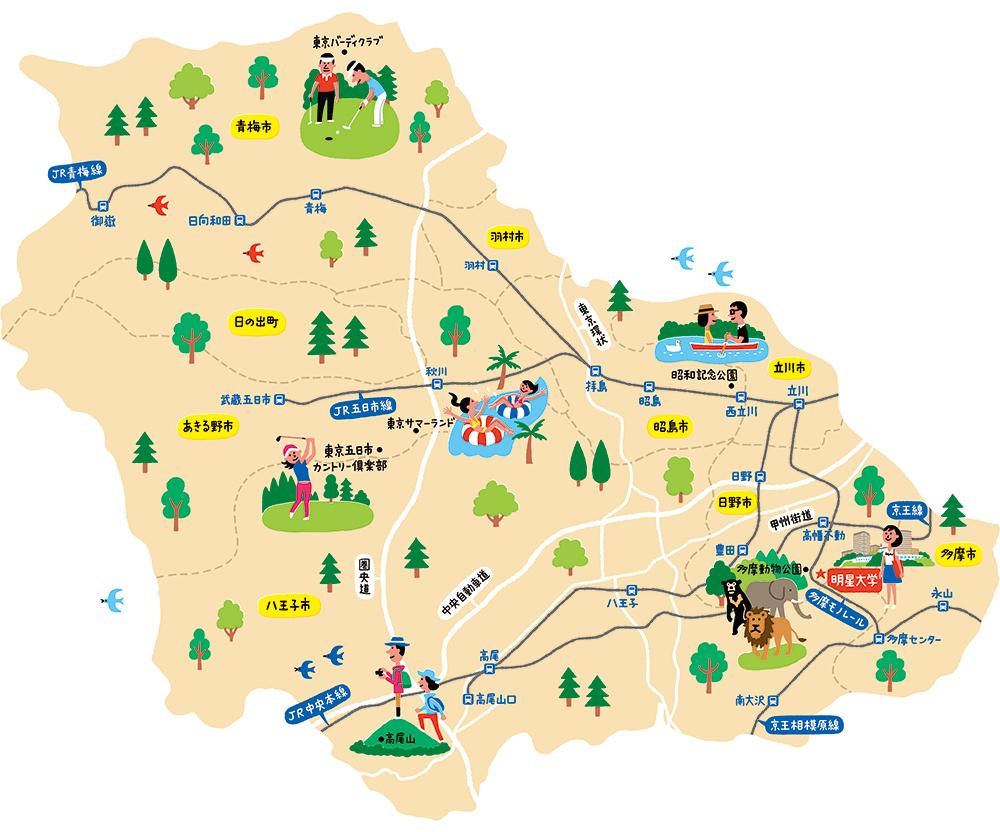 明星大学イラストマップ